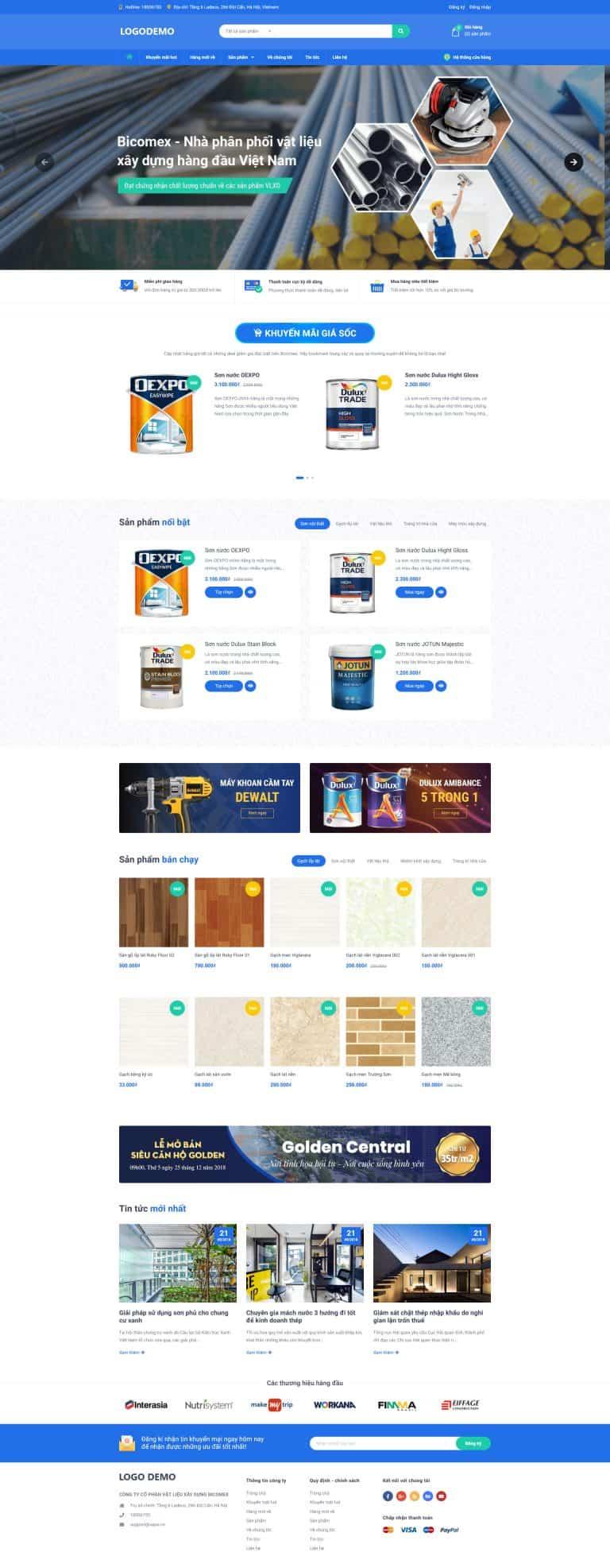 Thiết kế website Shop vật liệu xây dựng